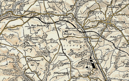 Old map of Boduel in 1900