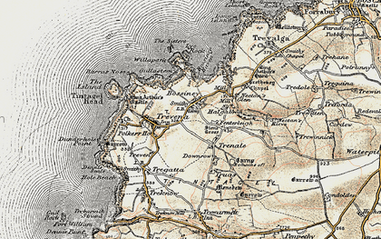 Old map of Bossiney in 1900