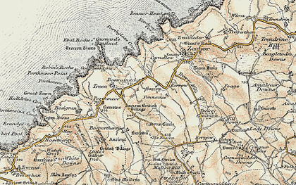 Old map of Boswednack in 1900