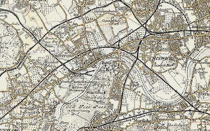 Old map of Brentford in 1897-1909