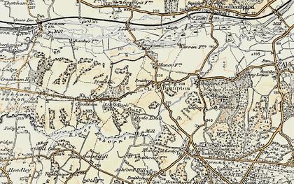 Old map of Brimpton in 1897-1900