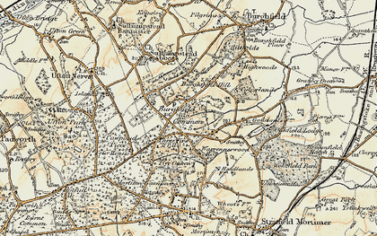 Old map of Burghfield Common in 1897-1900