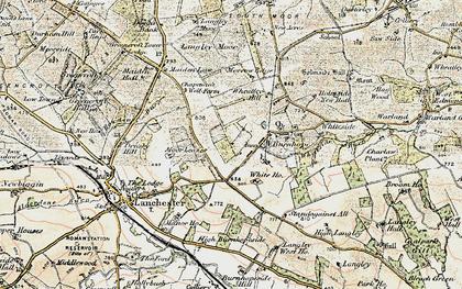 Old map of Burnhope in 1901-1904