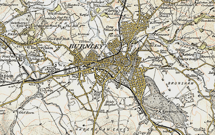 Old map of Burnley in 1903