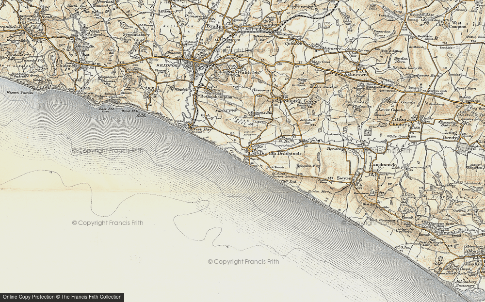 Old Map of Map of Burton Bradstock
