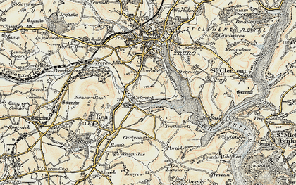 Old map of Calenick in 1900