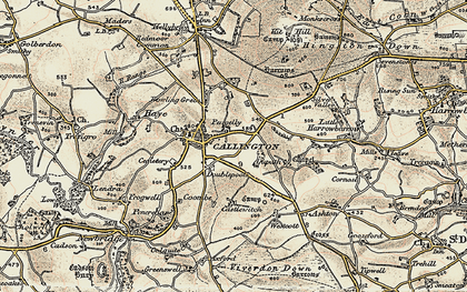 Old map of Callington in 1899-1900