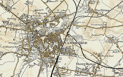 Old map of Cambridge in 1899-1901