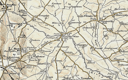 Old map of Canworthy Water in 1900