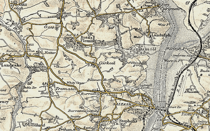 Old map of Carkeel in 1899-1900