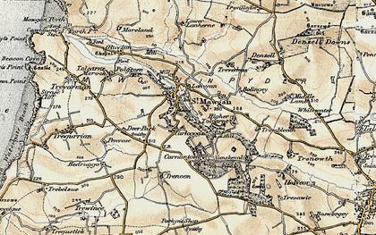Old map of Carloggas in 1900
