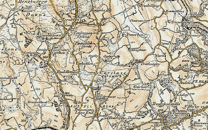 Old map of Carluddon in 1900
