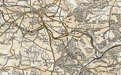 Old map of Carminow Cross in 1900