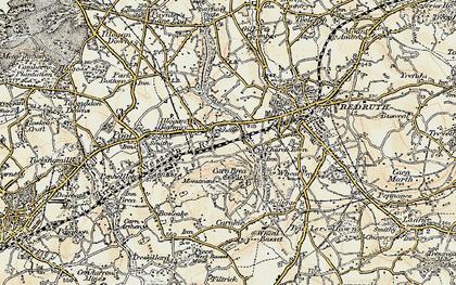 Old map of Carn Brea Village in 1900