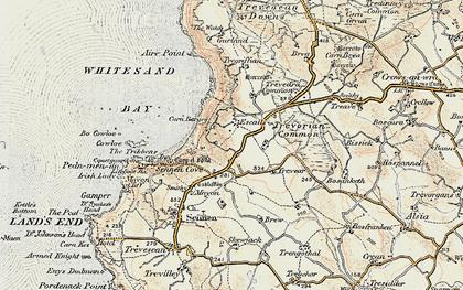 Old map of Carn Towan in 1900