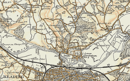 Old map of Caversham in 1897-1909