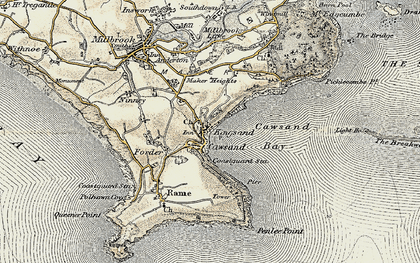 Old map of Cawsand in 1899-1900