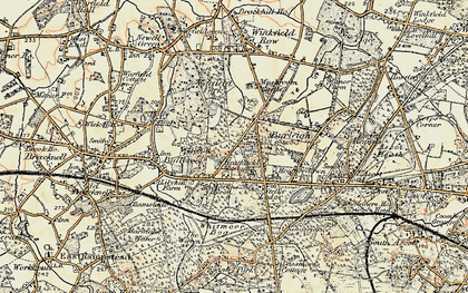 Old map of Chavey Down in 1897-1909