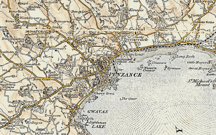 Old map of Chyandour in 1900