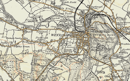 Old map of Clewer New Town in 1897-1909