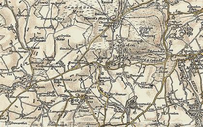 Old map of Darite in 1900