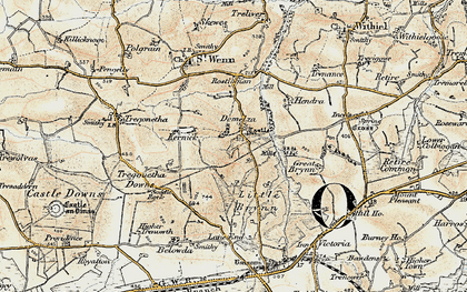 Old map of Demelza in 1900