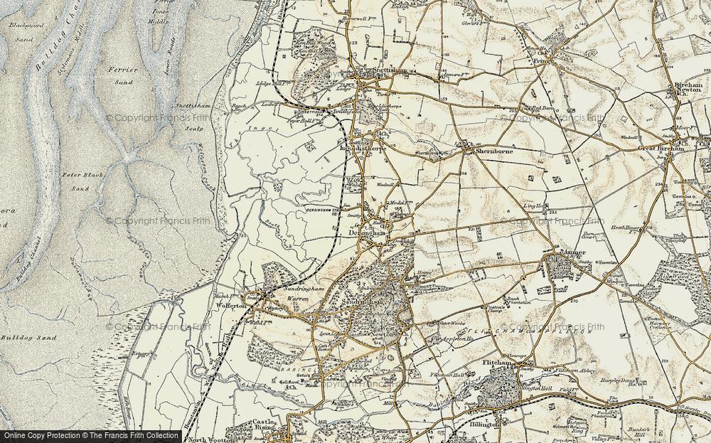 Old Map of Map of Dersingham