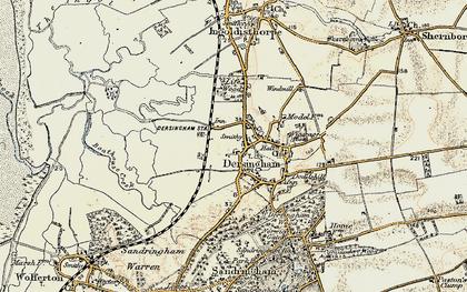 Old map of Dersingham in 1901-1902