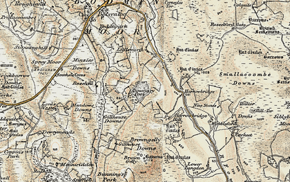 Old map of Dozmary Pool in 1900