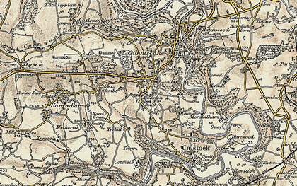 Old map of Drakewalls in 1899-1900
