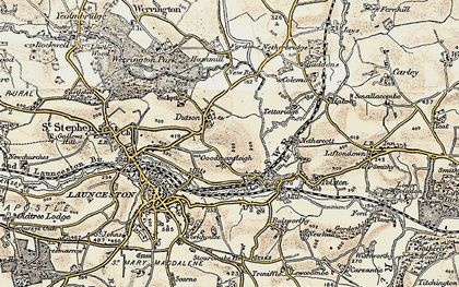 Old map of Dutson in 1899-1900