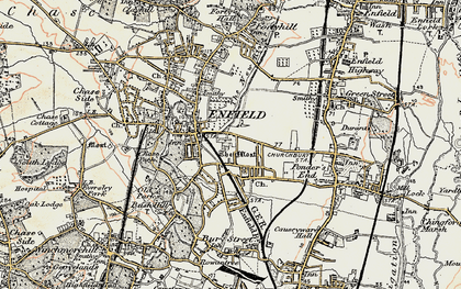 Old map of Enfield in 1897-1898