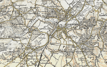 Old map of Godalming in 1897-1909