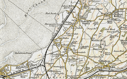 Old map of Hest Bank in 1903-1904