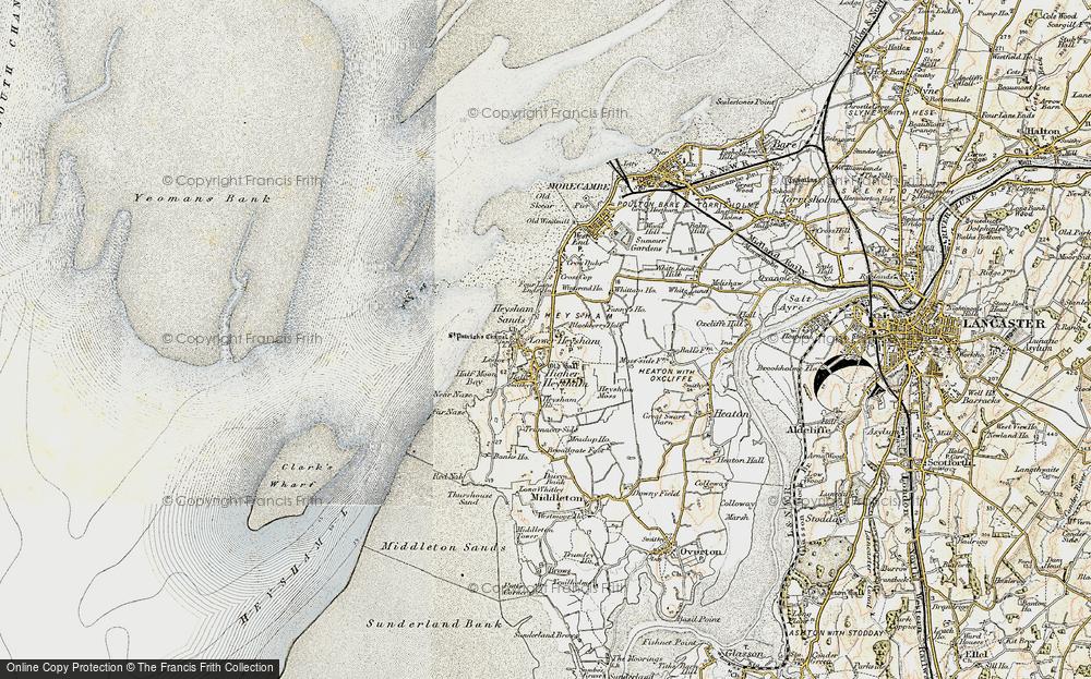 Old Map of Map of Heysham