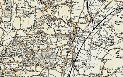 Old map of Hoddesdon in 1898