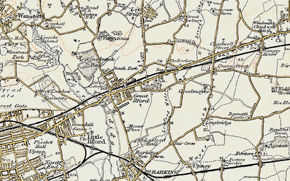Old map of Ilford in 1897-1898