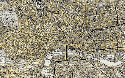 Old map of London in 1897-1902