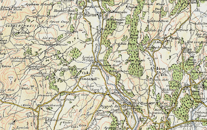 Old map of Lowick Bridge in 1903-1904