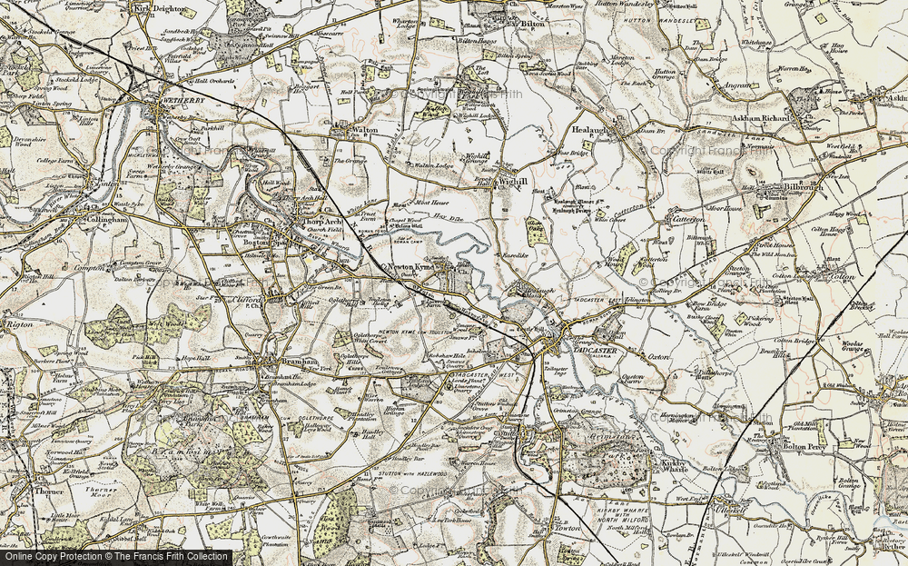 Old Map of Map of Newton Kyme