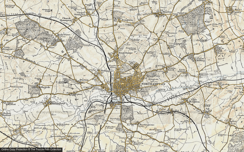 Old Map of Map of Northampton