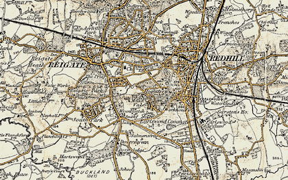 Old map of Reigate in 1898-1909