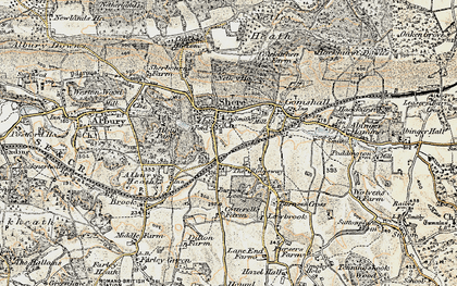 Old map of Shere in 1898-1909