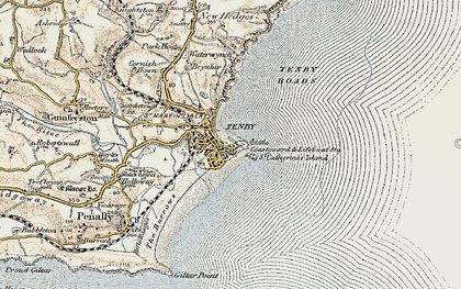 Old map of Tenby in 1901