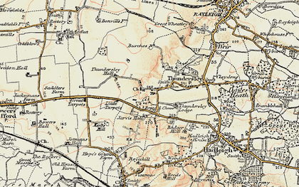 Old map of Thundersley in 1898