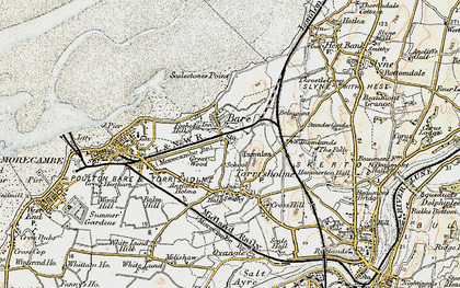 Old map of Torrisholme in 1903-1904