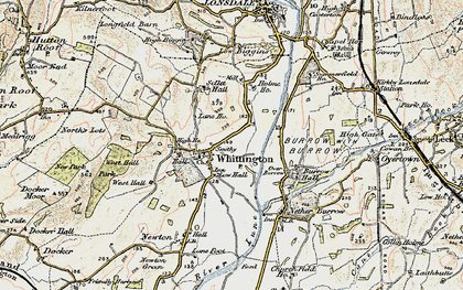 Old map of Whittington in 1903-1904