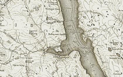 Old map of Abhainn Loch an Reithe in 1911