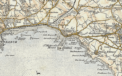 Old map of Marazion in 1900