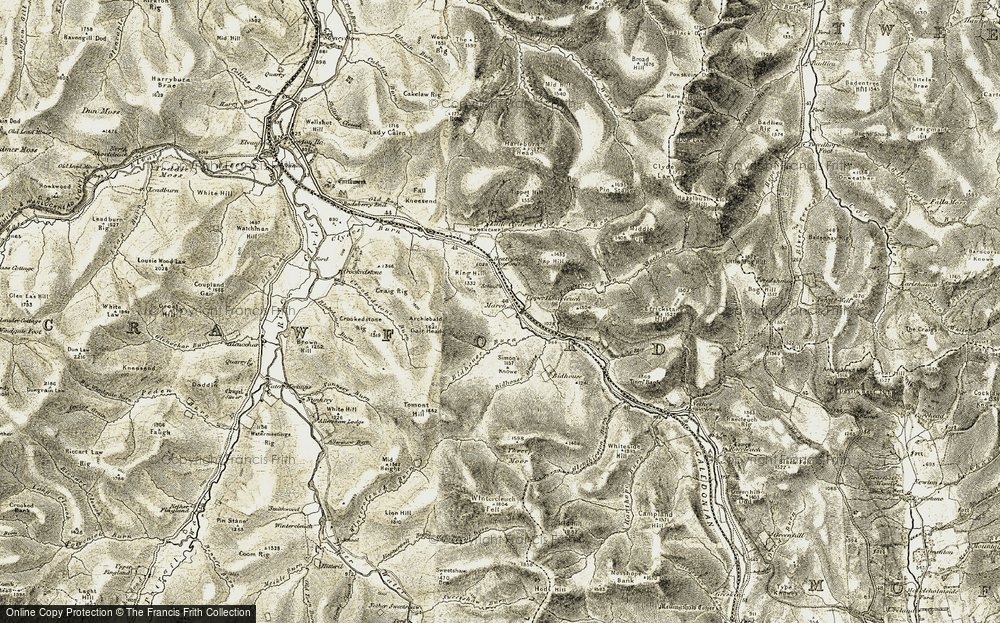 Old Map of Historic Map covering Tinny Bank in 1904-1905